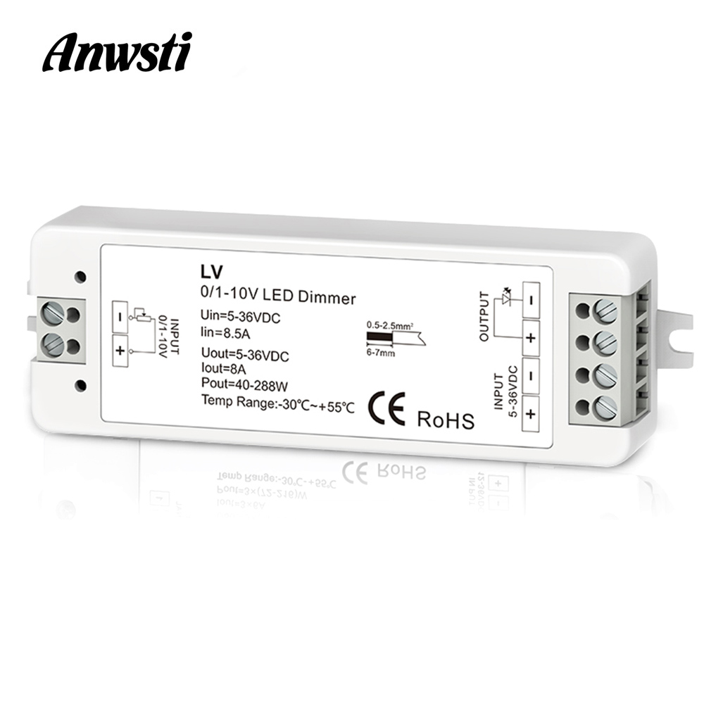 Mini 0/1-10V CV LED Dimming Controller 1 Channel DC 5V 12V 24V 36V PWM Conatant Voltage Output 8A 288W 1 Channel 0-10V Dimmer LV
