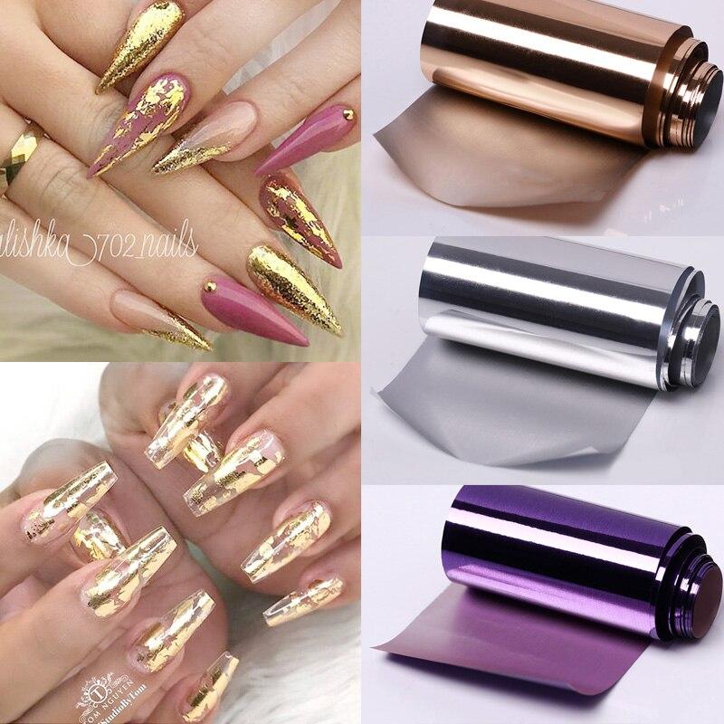 Золотистые/Серебристые зеркальные наклейки для ногтей, 1 шт., слайдер, голографические наклейки для ногтей, наклейки для обертывания, Самокл...