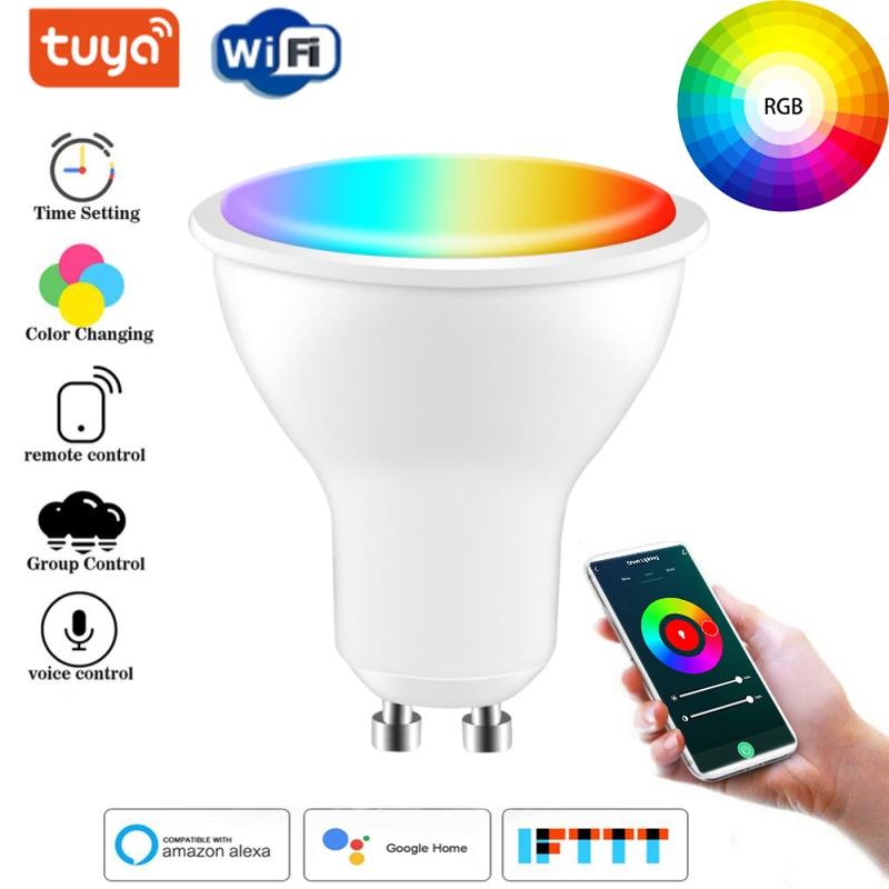 Tuya Smart Life, Wi-Fi, Gu10 диммируемая цветная (RGB) 2700K-6500K) 4WLED лампы поддерживает Amazon Alexa Echo и Google voice управление для умного дома