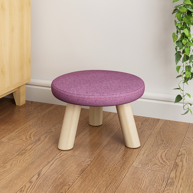 Fabric stool living room sofa adult Solid wood Home coffee table low stool Fashion round stools