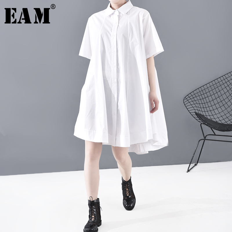 [EAM] Women Brief Big Hemline Big Size Blouse New Lapel Half Sleeve Loose Fit Shirt Fashion Tide Spring Summer 2020 1T826