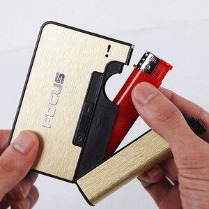 FOCUS Automatic Ejection Cigarette Dispenser Case Holder Case Lighter Gadget For Men Christmas Gift Metal Cigarette Boxes