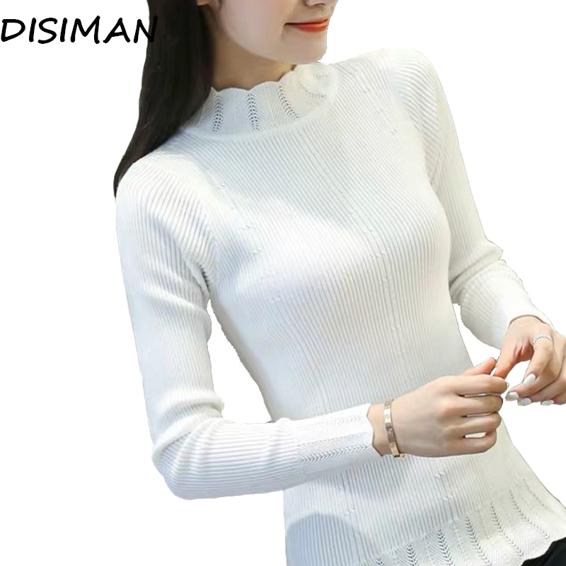 DISIMAN autumn winter striped pullover sweater women high quality long sleeve turtleneck korean knit pink sweater woman clothes thumbnail