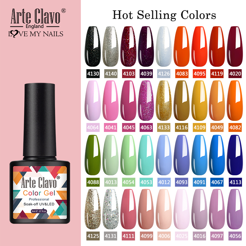 Arte Clavo 8ml Gel Nail Polish Nails Shiny Color Soak Off UV Gel Varnish Semi Permanant UV Gel Nail Art Need Led Lamp Top Coat(China)