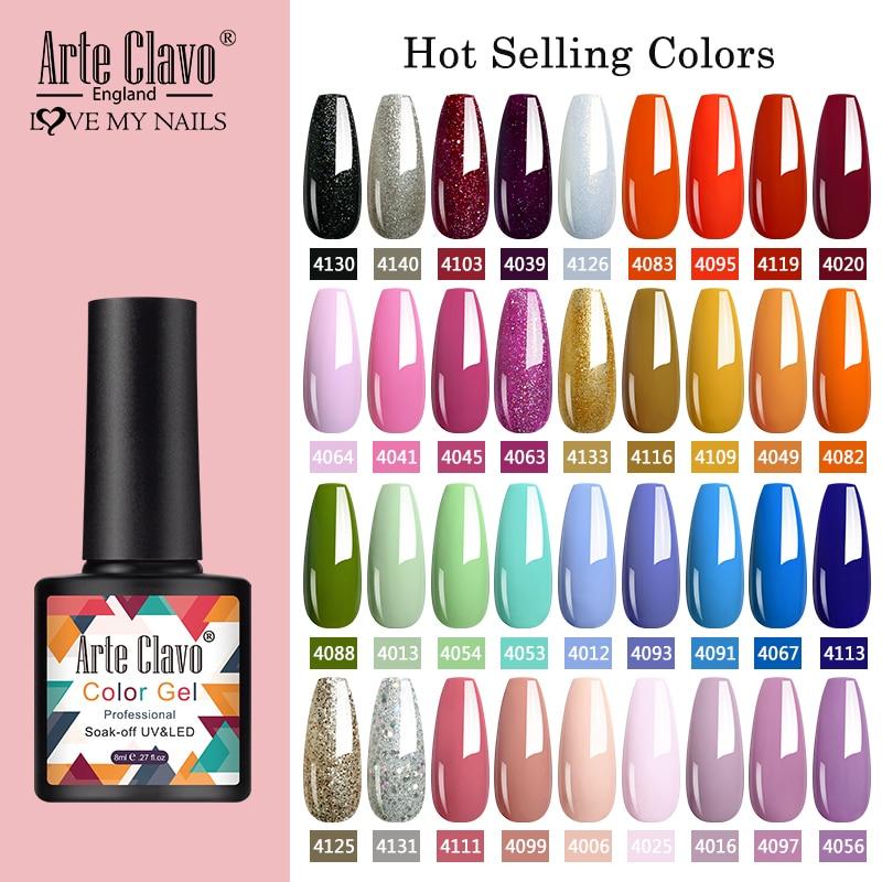 Arte Clavo 8ml Gel Nail Polish Nails Shiny Color Soak Off UV Gel Varnish Semi Permanant UV Gel Nail Art Need Led Lamp Top Coat(China)