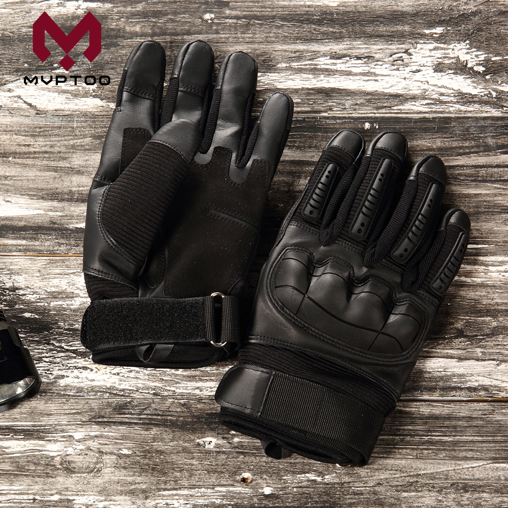 Image 5 - Touch Screen PU Leather Motorcycle Gloves Motorbike Motocross  Moto Cycling Hard Knuckle Protective Gear Full Finger Glove MenGloves    -