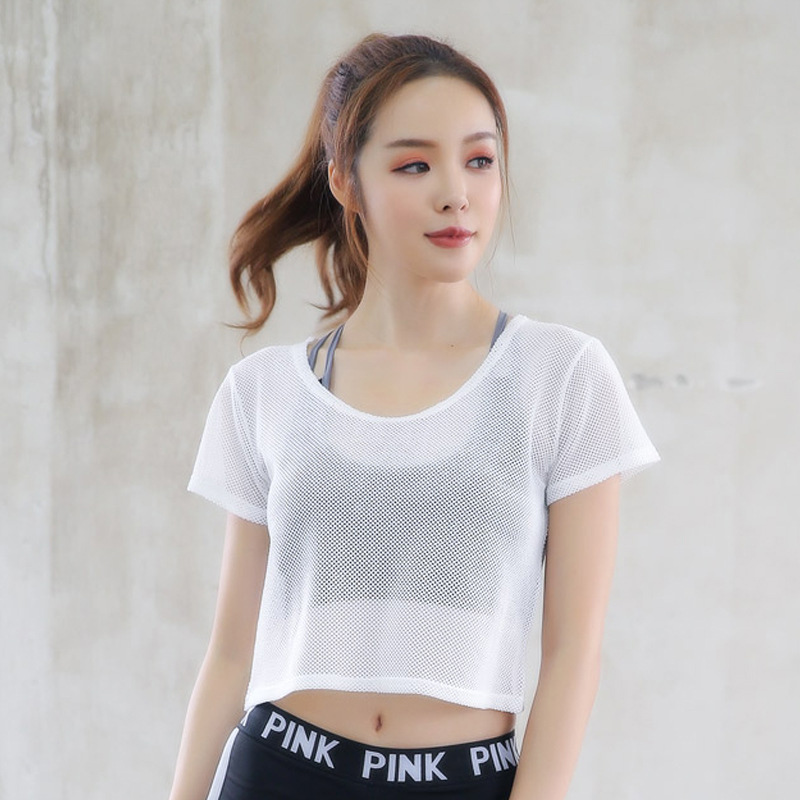 Женская спортивная одежда укороченный топ сетчатый женский спортивный