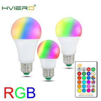 цена на 110V 220V E27 RGB LED Bulb Light 5W 10W 15W RGB Lampada Changeable Colorful RGBW LED Lamp With IR Remote Control+Memory Mode LED