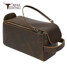Man Cosmetic cases Travel Bags Vintage Cow Leather Men Cosmetic Bag Genuine Leather