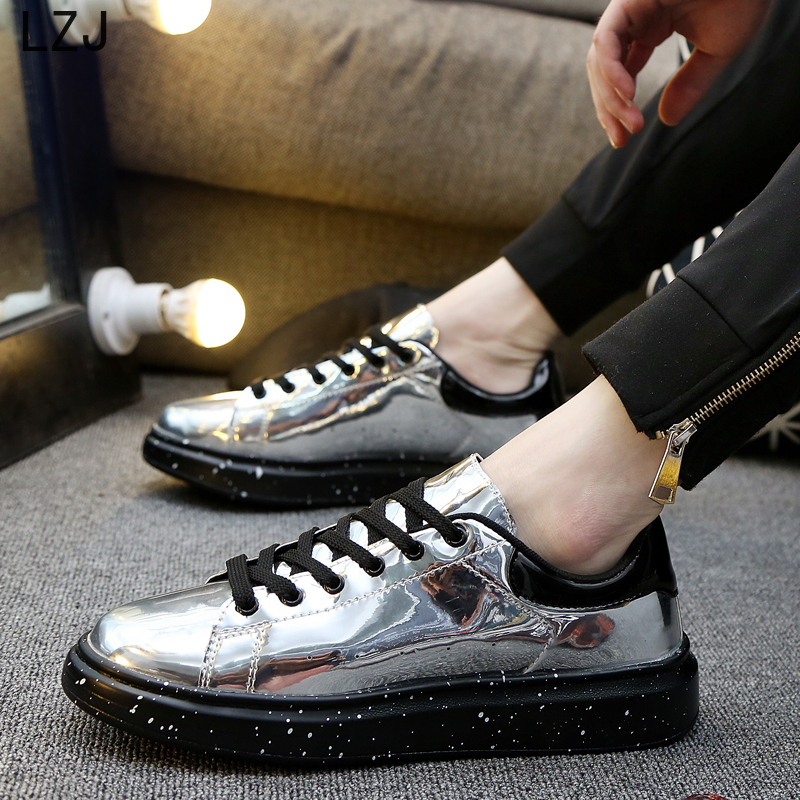 LZJ Shine Silver PU Leather Casual Shoes Men Bling Luxury Designer Moccasins Men Brand Sneakers Glossy Men Drive Shoes