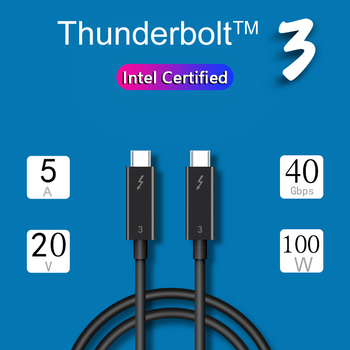 Thunderbolt 3 Cable USB Type C to USB Type C 40Gpbs Data 100W PD Charge 4K 60Hz for eGPU DELL XPS Macbook Pro - Intel Certified max 100w usb c pd charger with 60w pd for dell xps 12 dell xps 13 9350 dell xps 15 9550d latitude 12 7275 13 7370d chargers
