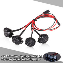 4 LED White Lights with Lampshade Roof Light Search Lamp for 1/10 1/8 Traxxas HSP Redcat RC4WD Tamiya Axial SCX10 D90 HPI RC