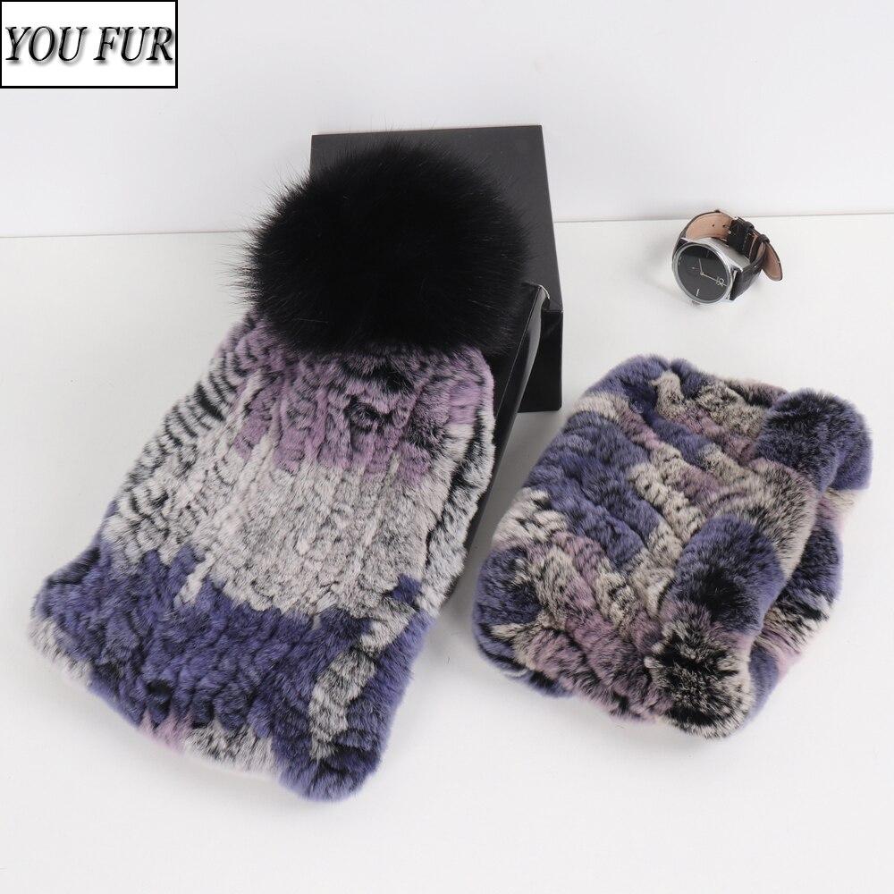 Winter Women 100% Natural Fur Scarf Hat Sets Fashion Girls Genuine Rex Rabbit Fur Scarves Hats Sets Knitted Elastic Real Fur Set