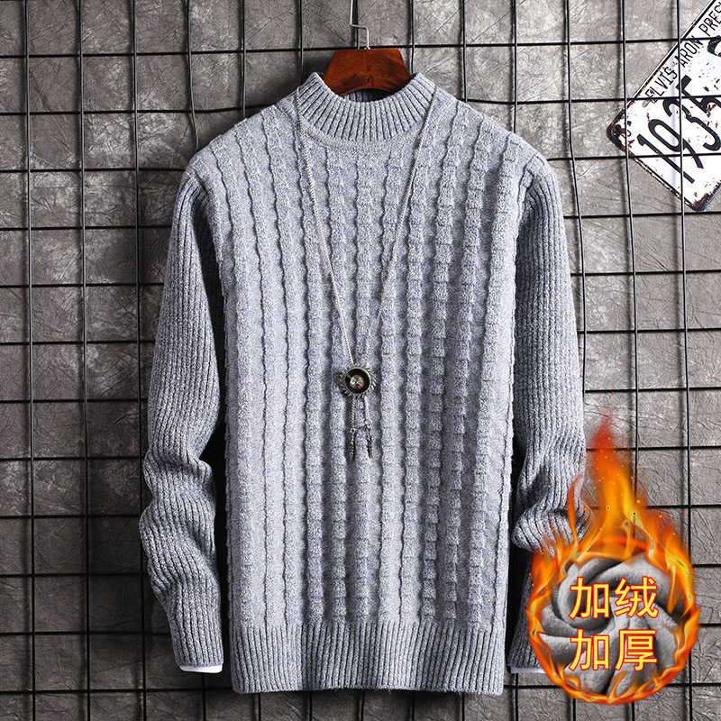 Fleece Sweater Men Black Wine Red Long Sleeved Winter Leisure New Fashion Mens Sweaters Pullovers O-Neck