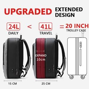 Image 2 - ARCTIC HUNTER 40L Large Capacity Mens Expandable Backpacks USB Charging Male 17 inch Laptop Bags Waterproof Business Travel Bag
