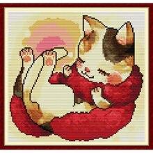 Everlasting love a cat с красным шарфом китайские наборы крестиков