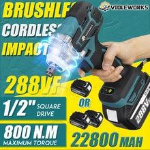 Novo 22800mah 288vf brushless chave de impacto elétrica 1/2 bateria de lítio-íon 6200rpm 800 n.m torque 110-240v