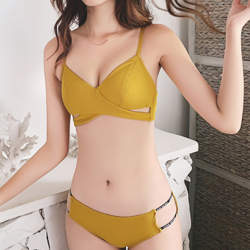 French Style Bra Set Wireless Underwear Push Up Lingerie Set Girl Intimaties Femme