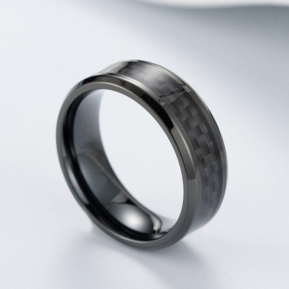 Bague en acier titane noir en fibre de carbone 6