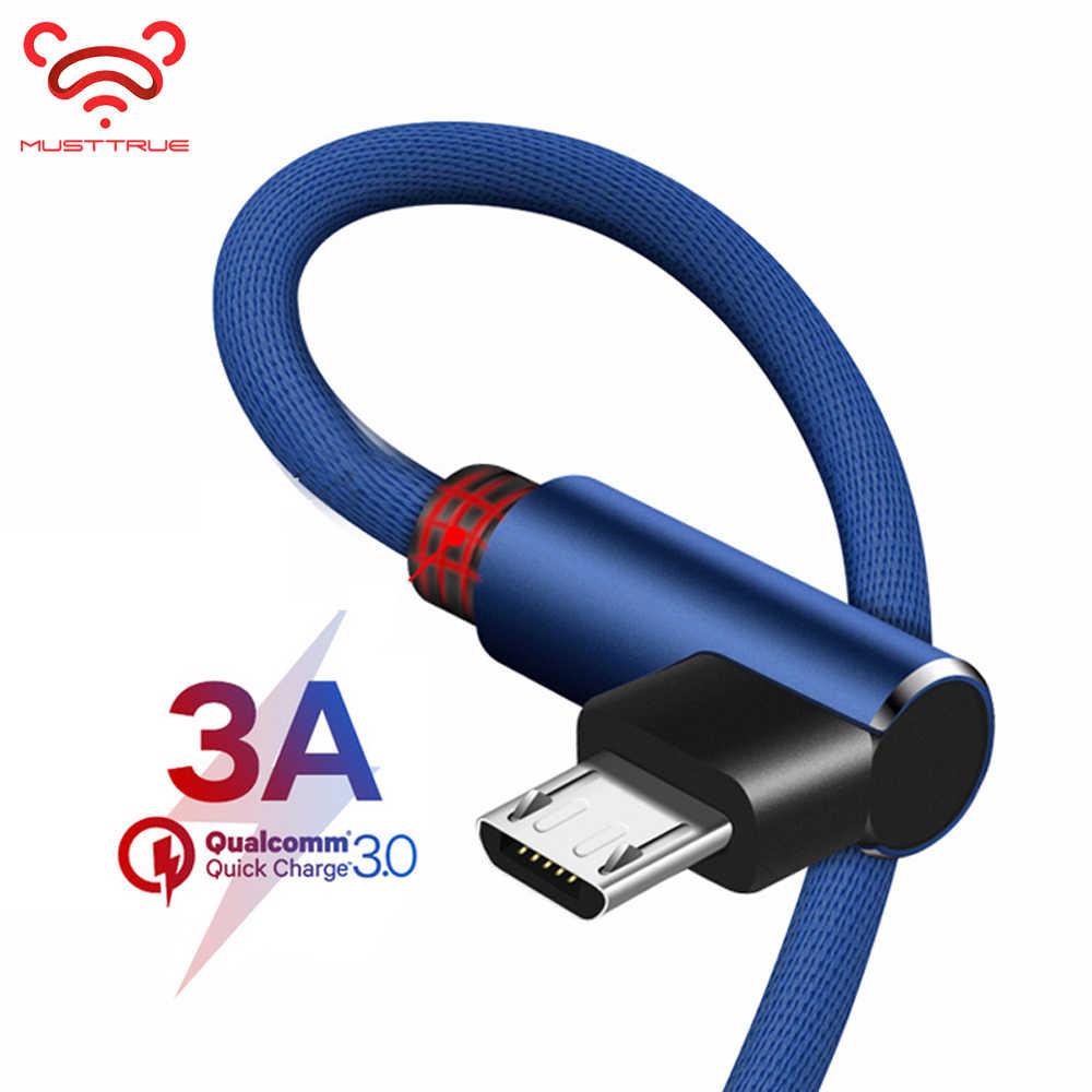 Câble Micro USB en Nylon à 90 degrés chargeur rapide 3A pour Samsung S7 S6 Huawei Xiaomi Redmi Note 5 câble de données de cordon USB pour téléphone Android