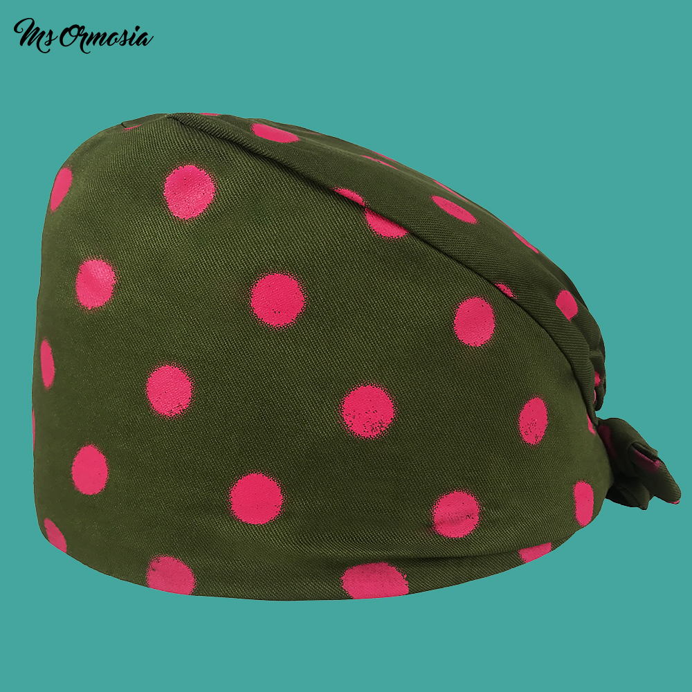 New Quality Green Printed Men And Women 100% Cotton Pet Doctor Surgical Cap Band Elastic Nurse Cap Medical Doctor Cap Beauty Hat