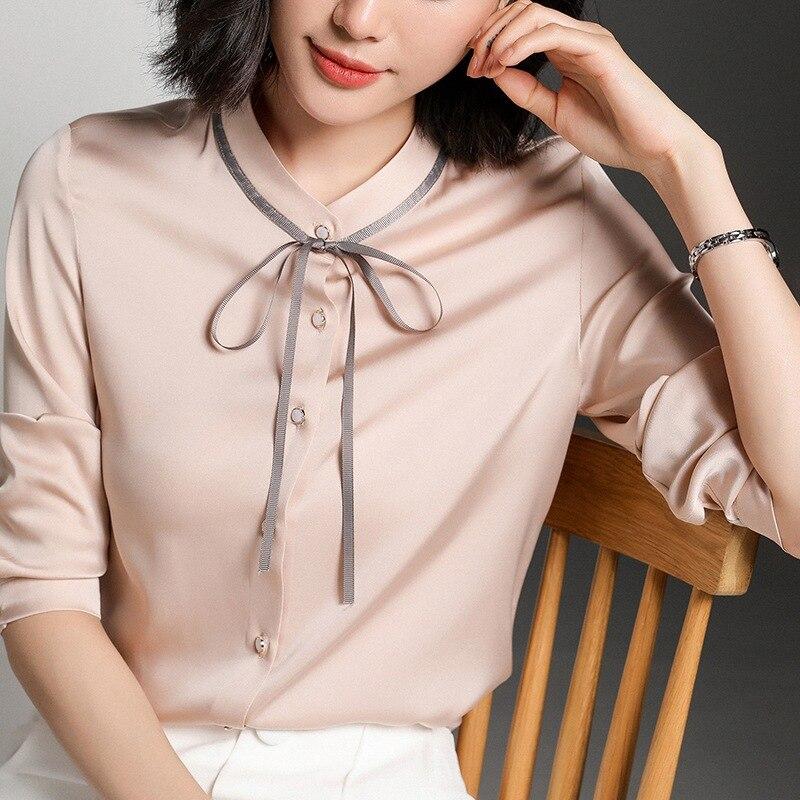 Chemises en soie importantes chemise en soie de mûrier pour femmes à manches longues noeud à manches hauts en ruban chemise en Satin printemps et été nouveau Style