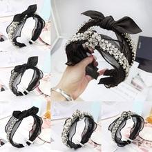 Fashion Hand-Woven Pearl Flower Crystal Beaded Fabric Headband Bohemian Rhinestones Elegant Bow Lace Metal Beads