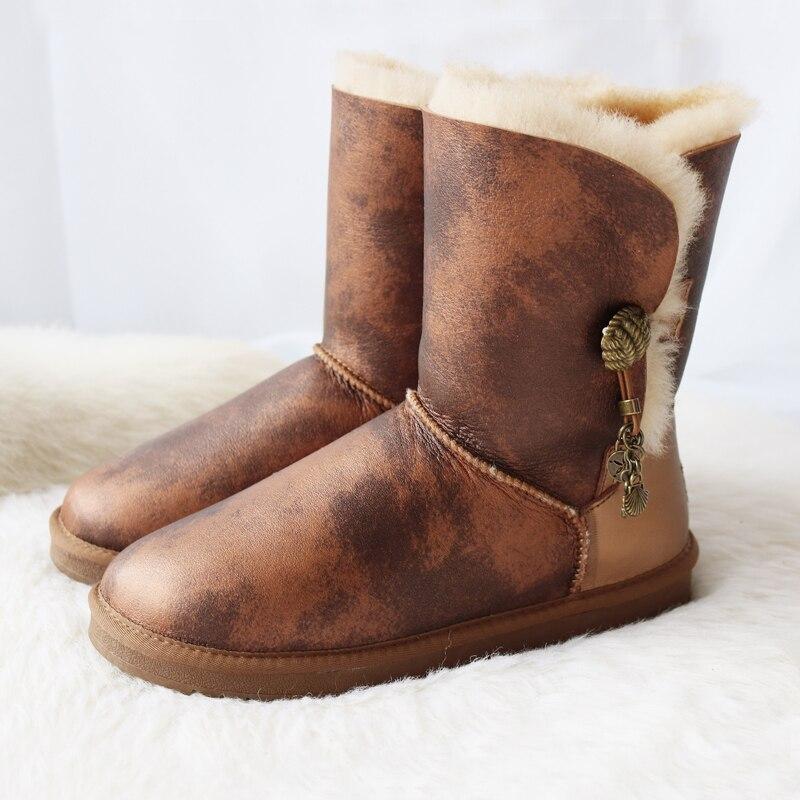Marque femmes bottes de neige en peau de mouton véritable Learher bottes Matel bouton gland laine bottes de neige hiver plat imperméable chaussures de mouton - 2