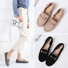 2020 Loafers Ballets Flats Shoes Woman Winter Flock Solid Moccasins Slip Ons Peas Plush Egg Roll Flats Footwear Soft Mother Flat