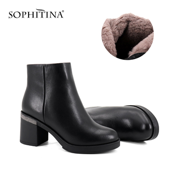 SOPHITINA New Ankle Boots Comfortable Square Heel Round Toe High Quality Genuine Leather Shoes Hot Sale Women's Boots SC359 sophitina wool winter boots high quality genuine leather comfortable round toe square heel shoes new handmade women boots c624