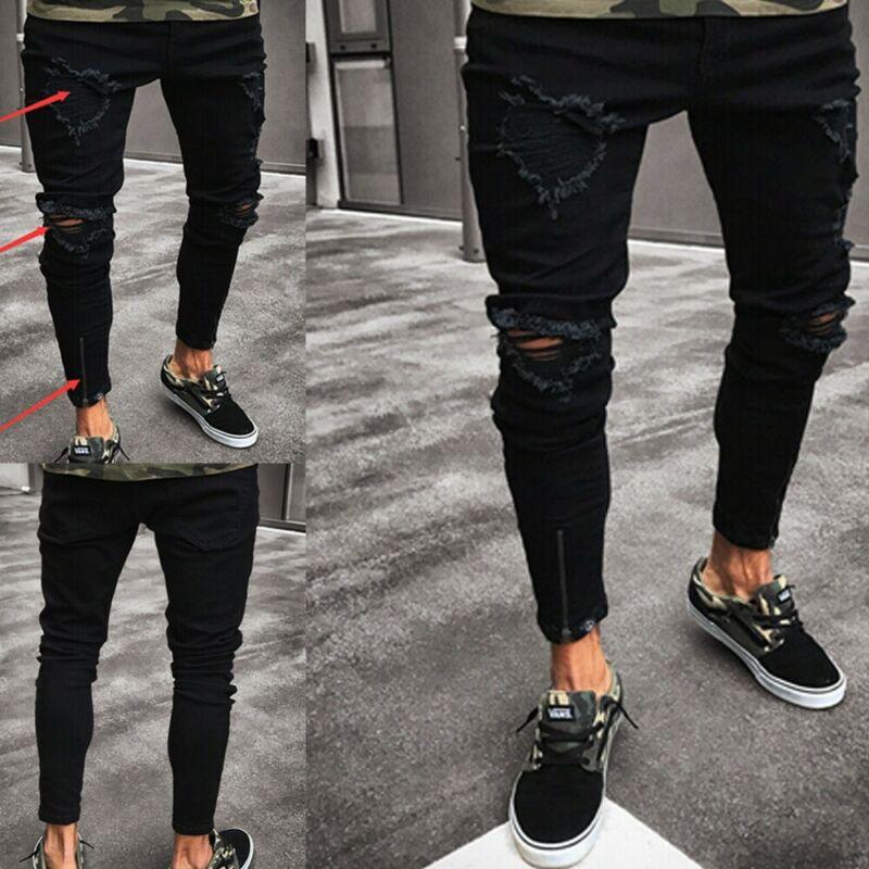 New Skinny Jeans Men Streetwear Destroyed Ripped Jeans Hip Hop Broken Male Pencil Biker Patch Pants