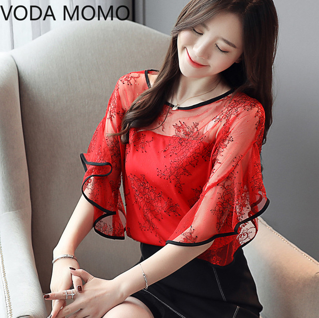 Summer New Fairy Lace Stitching Women shirt Butterfly sleeve embroidery Tops Casual Crochet Hollow out blouse Plus size 4