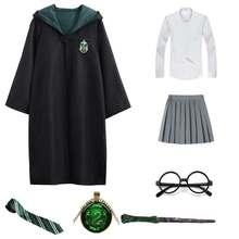 Disfraz de Harry Potter para disfraz de Hermione Granger, Slytherin uniforme de escuela, ropa, Varita Maigc, bata de gafas, capa, Cosplay de Halloween