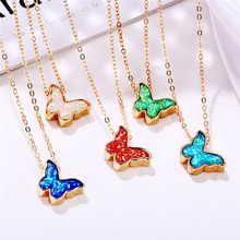 Luokey Chic Butterfly Necklace For Women Summer Sweet Cute Insect Animal Pendant Necklace Fashion Clavicle Necklace Jewelry 2020 chic dry flower necklace for women