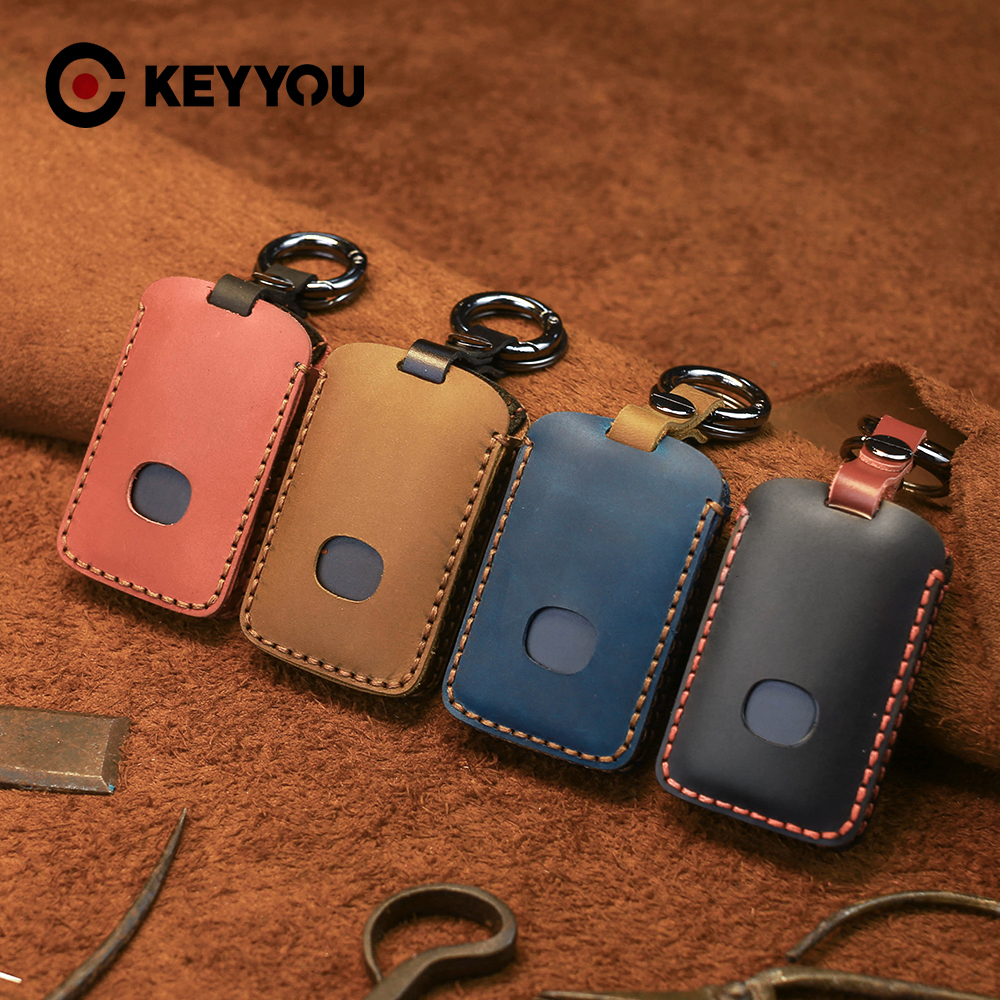 KEYYOU Genuine Leather Car Key Case Cover For For Mazda 3 Alexa CX4 CX5 CX8 2019 2020 3 Buttons Smart Remote Car Key Accessories