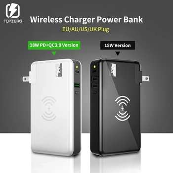 TOPZERO 10000 mAh Wireless Charger Power Bank For Xiaomi Huawei iPhone Samsung Portable LED PD QC 3.0 USB Fast External Battery oisle mini portable external battery charger battery case power bank for iphone x 11 7 8 6s xs 12 samsung s9 huawei p30 xiaomi 9