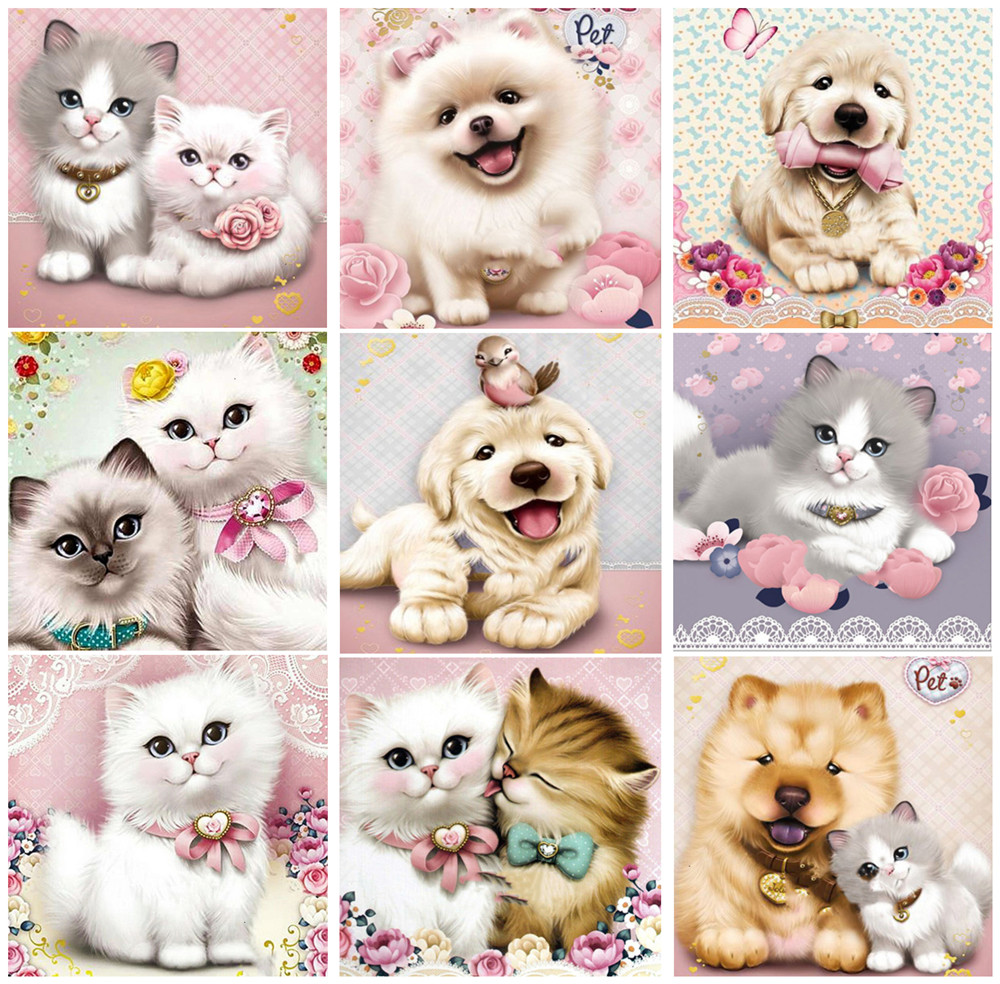 New Diamond Painting Cartoon Cat And Dog Animal Decorations For Home Embroidery Diamond Art Home Decor