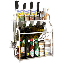 Сушилка держатель для инструментов настенный Вертикальный двойной стеллаж для специй из нержавеющей стали Палочки для еды пробойник сушилка для посуды раковина
