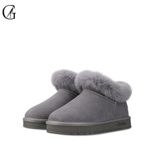 GOXEOU/2019 New Winter Women Boots Round Toe Solid Snow Boots Cow Suede Casual Female Shoes цена