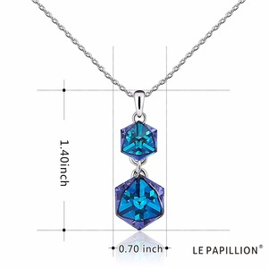 Image 5 - Embellished with Crystal from Swarovski Women Necklace Square Double Crystal Cube Pendant Necklace Fashion Jewelry Female Collar