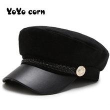 Słońce dorywczo wojskowe czapki kobieta bawełna Beret płaskie czapki kapitan czapka Trucker Vintage czarny Sport tata kości mężczyzna kobiet skórzany kapelusz