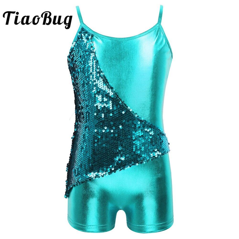TiaoBug Kids Girls Spaghetti Straps Sequins V-shaped Back Metallic Gymnastics Leotard Unitards Performance Ballet Dance Costume