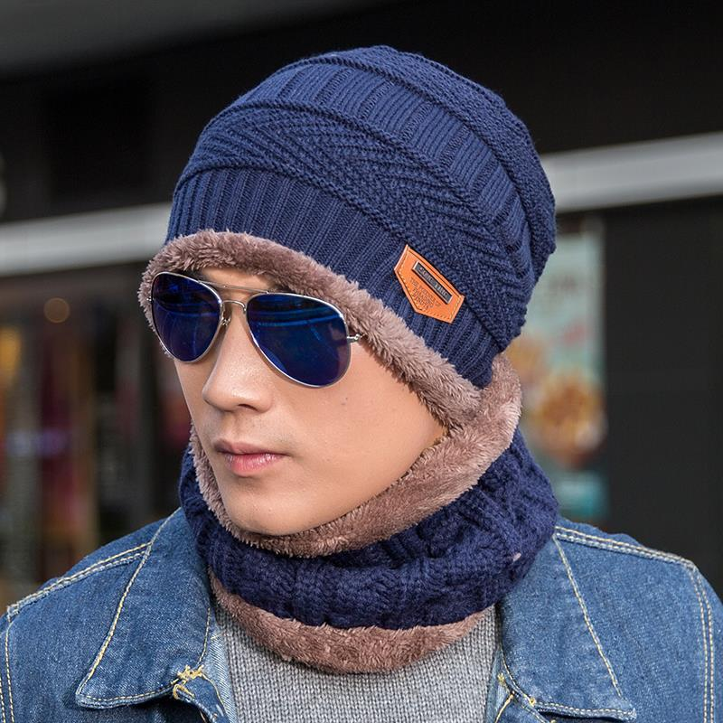 2019 Autumn And Winter Fur Wool Knitted Hat Scarf Set Encased Plus Velvet Warm Windproof  Fashion For Men Boy