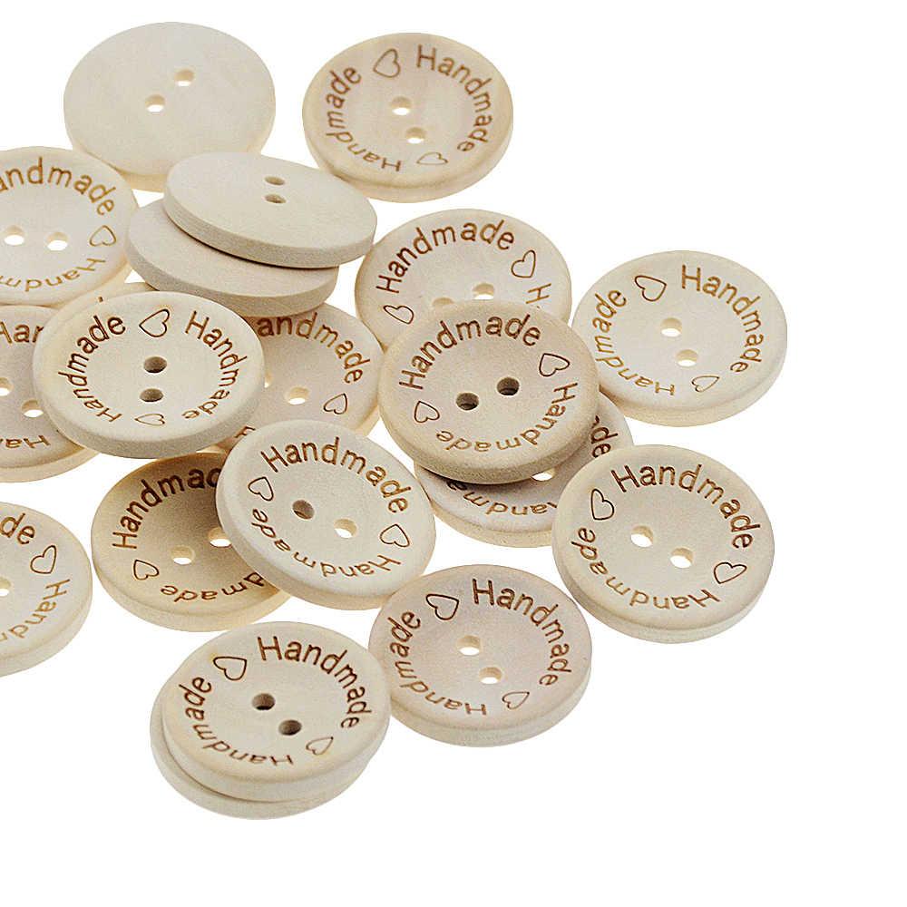 100 adet/grup kase tipi doğal renk ahşap düğmeleri el yapımı aşk mektubu ahşap düğme zanaat DIY bebek giyim aksesuarları