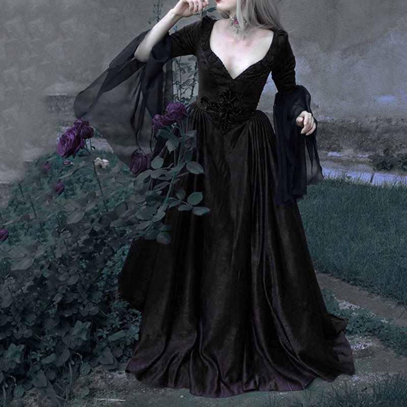 Goth Vintage Elegante Lange Jurk Vrouwen Herfst Winter Dark Zwart Rood Mesh Retro Avond Party Diner Jurk Plus Size 5XL vestidos