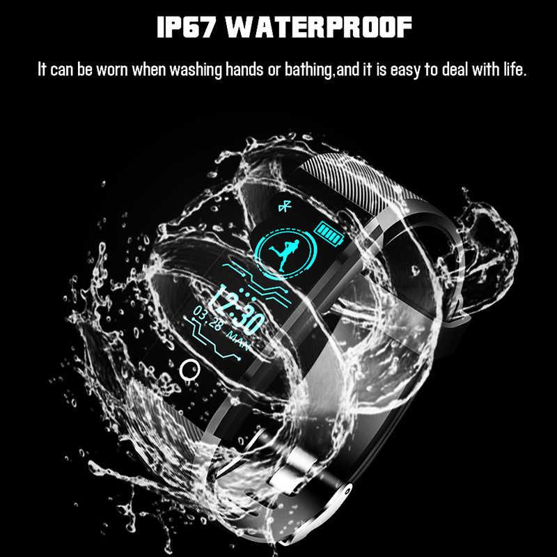 LIGE smart watch 男性フィットネストラッカースポーツ腕時計血圧心拍数モニターアラーム時計思い出させるためのスマートウォッチ Android iOS