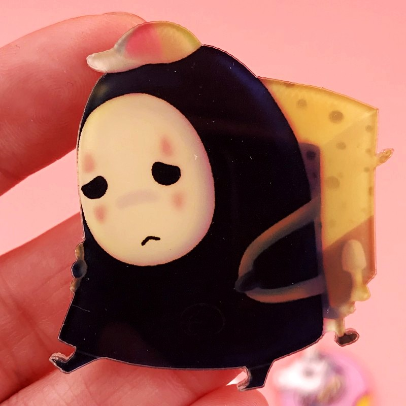 1PCS Sad Cartoon No Face Man Icon Badge Acrylic Pin Cute Ghost Icon Brooch Decoration On Bag Hat Scarf Kids Birthday Party Gifts(China)