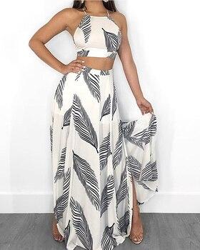 цена на Leaf Print Backless Cami Top & Split Maxi Skirt Set