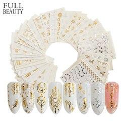 Belleza completa oro plata uñas agua pegatina pluma flor araña diseño Calcomanía para uñas decoración arte manicura deslizador