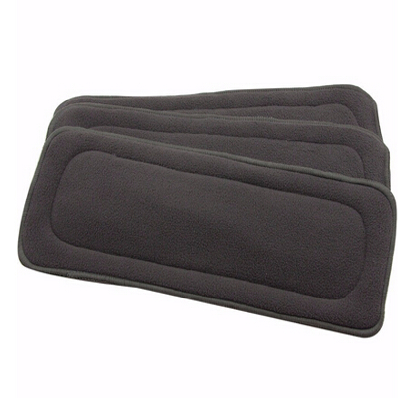 4Layers Bamboo Charcoal Cloth Diapers Inserts Nappy Changing Mat Black Baby Diapers Reusable Diaper Changing Pad Liners